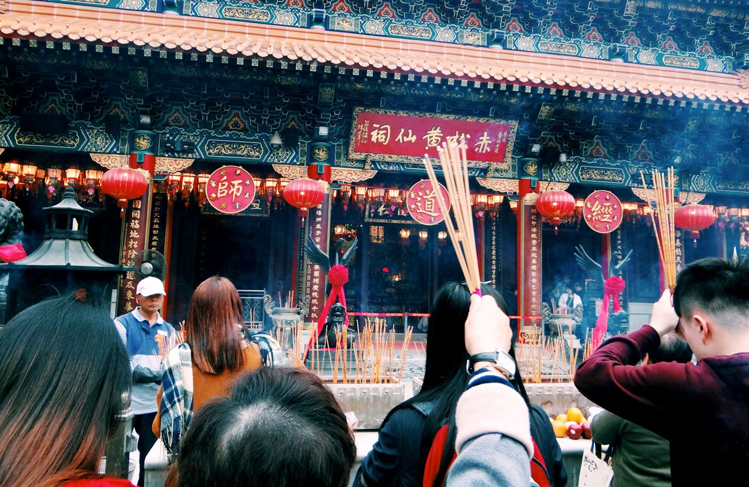Students attend a ceremony at Wung Tai Sin Temple in Hong Kong for a 2016 Winter Term trip, taken by Savanna Cary '18