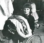 Sue in wheelchair, black and white photo