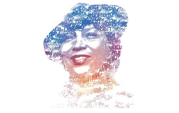 Illustration of Zora Neale Hurston with words