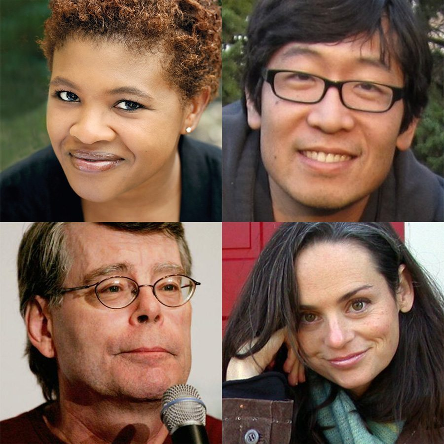 Keynote speakers from Writers in Paradise, Attica Locke, David Yoo, Stephen King, Julianna Baggott