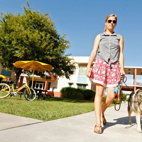 Female student walking dog outside Iota
