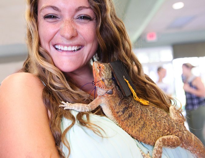 Bearded dragon crawling up student's neck