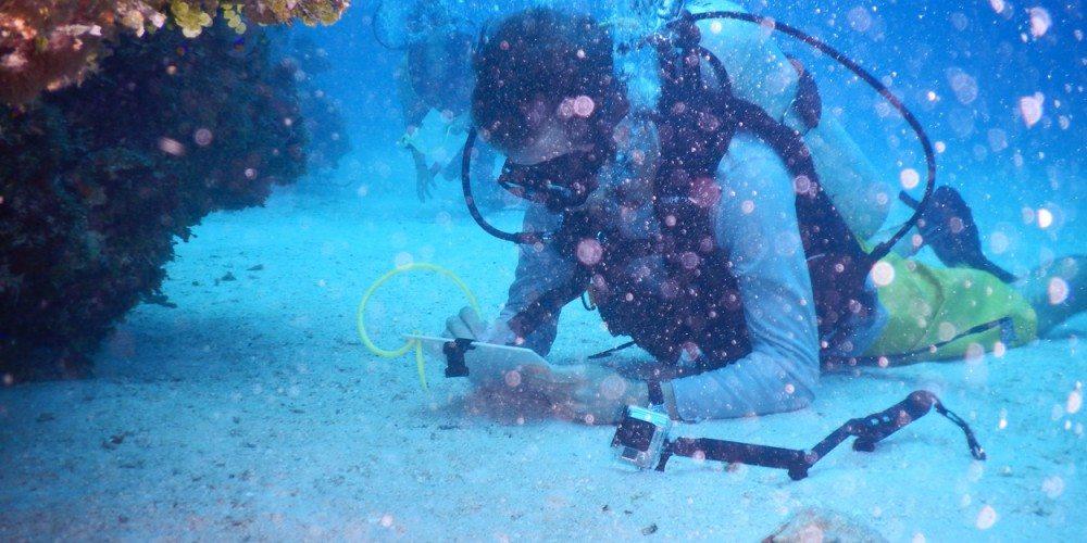 Student scuba diving in Cuba