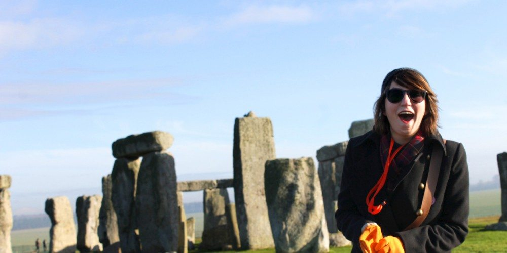 Student in front of Stonehenge