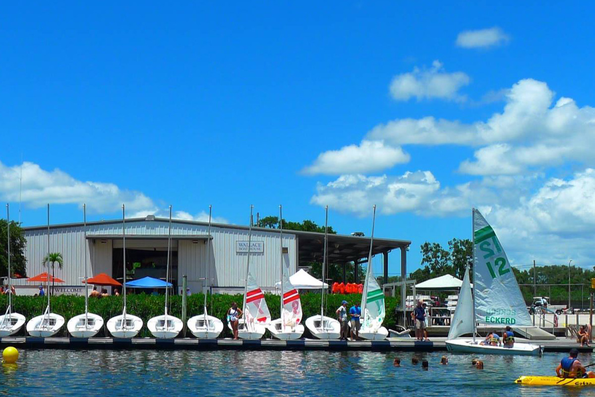 Eckerd College boathouse with boats and kayaks
