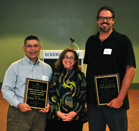 Anthony Brunello and Nathan Andersen presented faculty awards by Dean Suzan Harrison