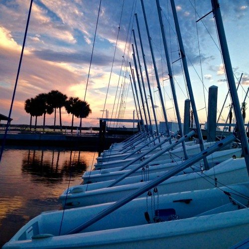 Doyle Sailing Center at sunset