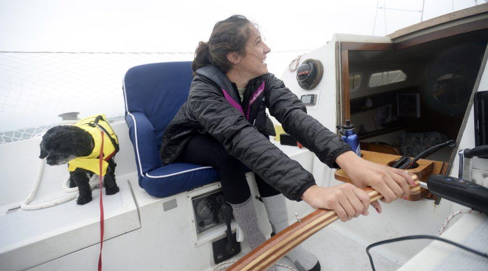 Sally Gardiner-Smith on boat
