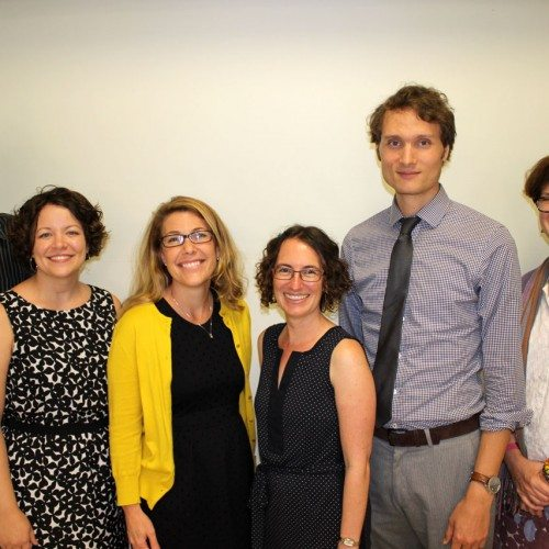 New faculty members (left to right): Michael Burch, April Buck, Jennifer Knippen, Noelle Boucquey, Christopher Rowland and Lisa Johnston