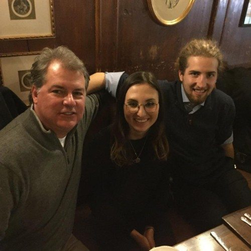 Taylor Rice '16 and Trevor Sutherland '17 with Trevor's dad, Tom Sutherland in London.