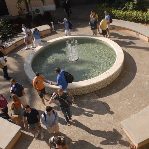 An aerial view of a courtyard on Stetson University's Gulfport, Fla. campus.