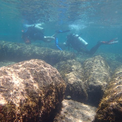 Student divers in the Mediterranean Sea