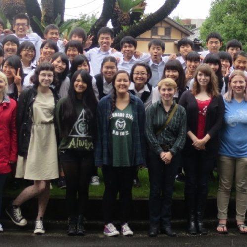 Eckerd graduate Haley Ramirez poses with her English language students at Takamatsu Daiichi High in June.