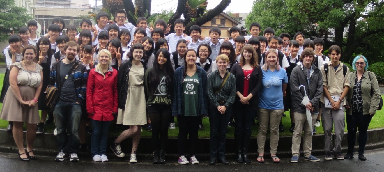 Eckerd graduate Haley Ramirez poses with her English language students at Takamatsu Daiichi High in June.