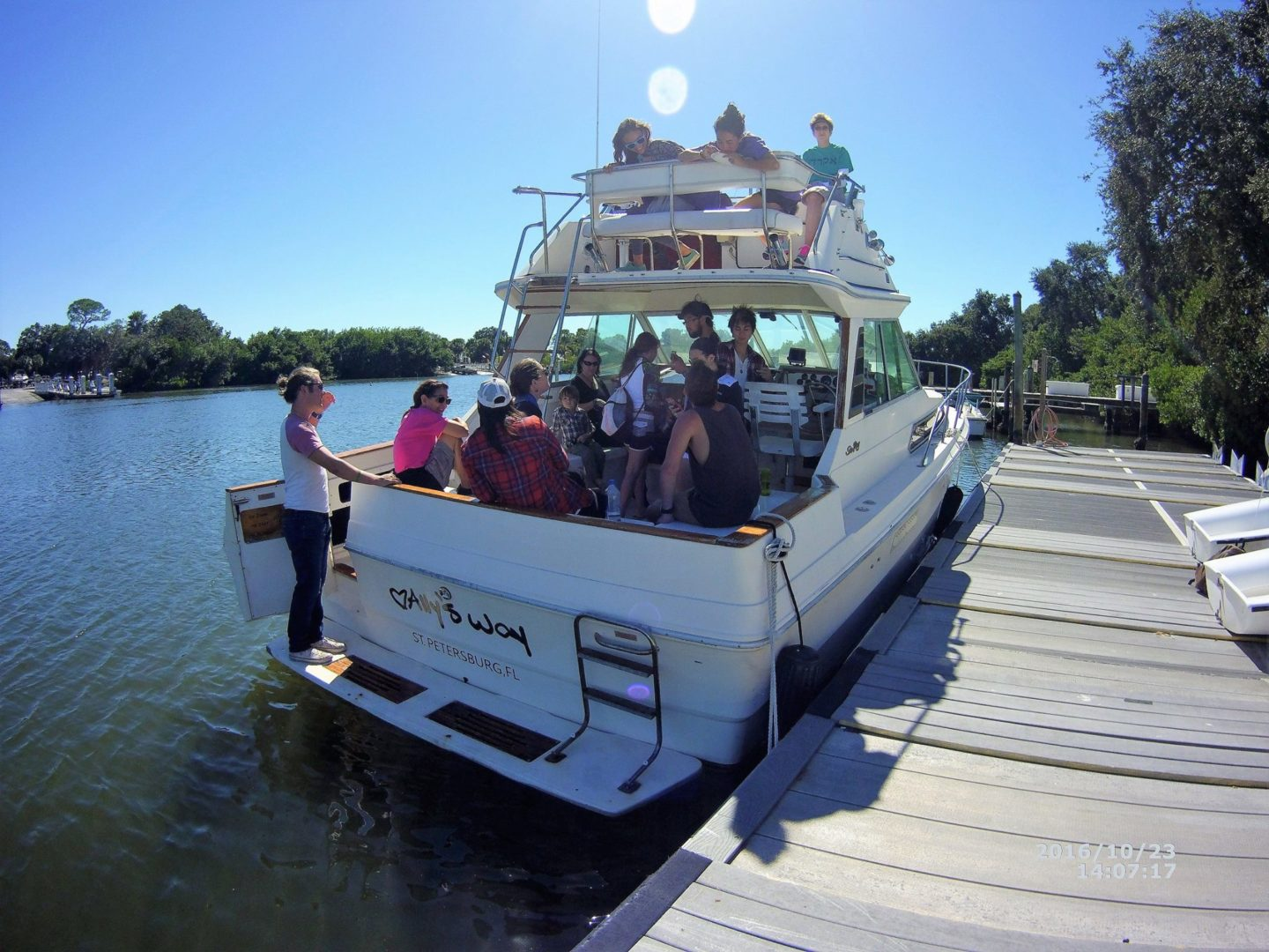 Two story SeaRay Boat docked at the Eckerd College Waterfront on Oct. 23.