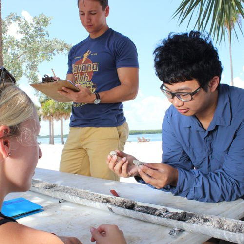Students looking at a sample while on South Beach