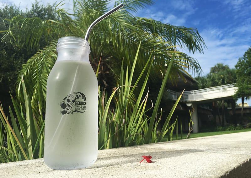 Metal straw in a reusable water bottle