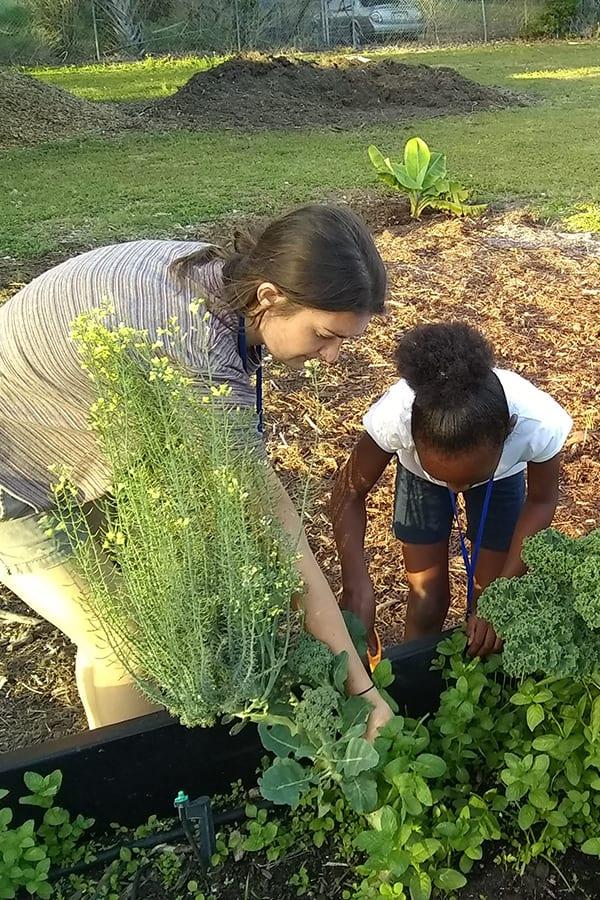Eckerd student with elementary school student in the garden