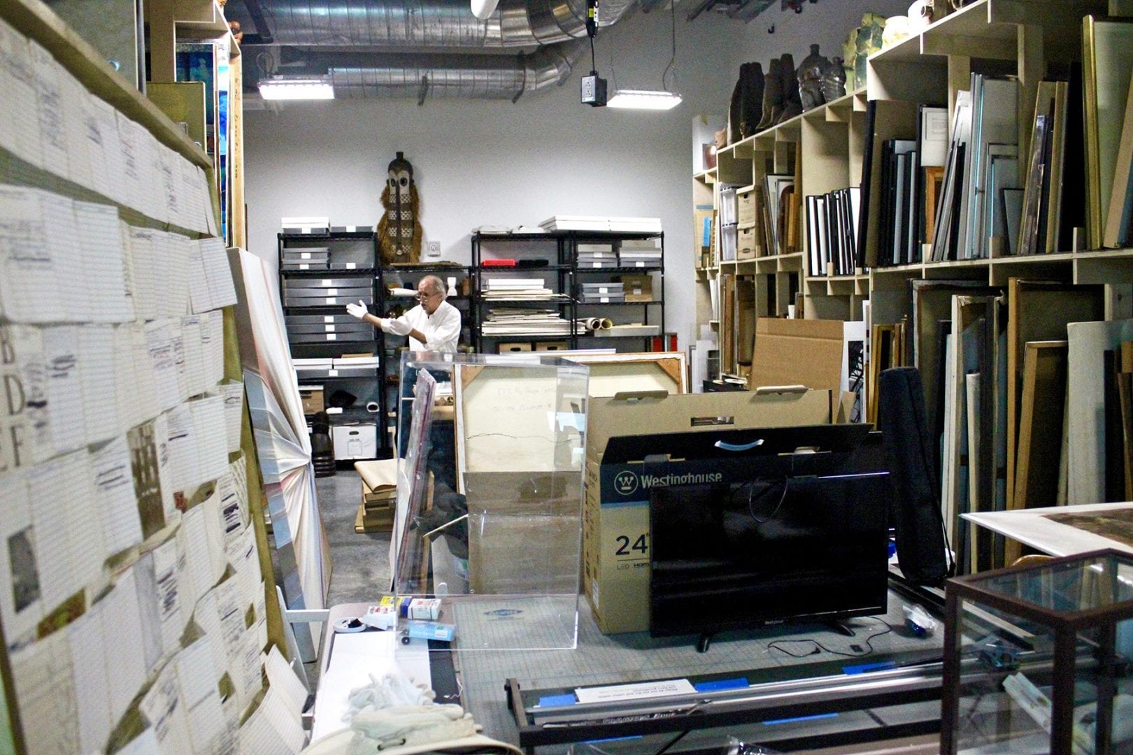 Arthur Skinner '72 inside the gallery storage room