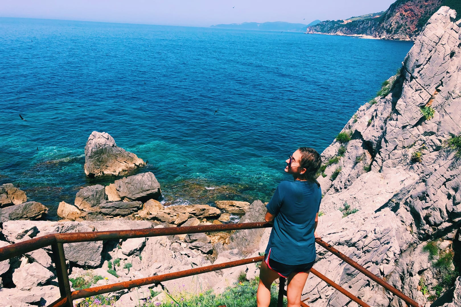 Student overlooking Montenegro bay