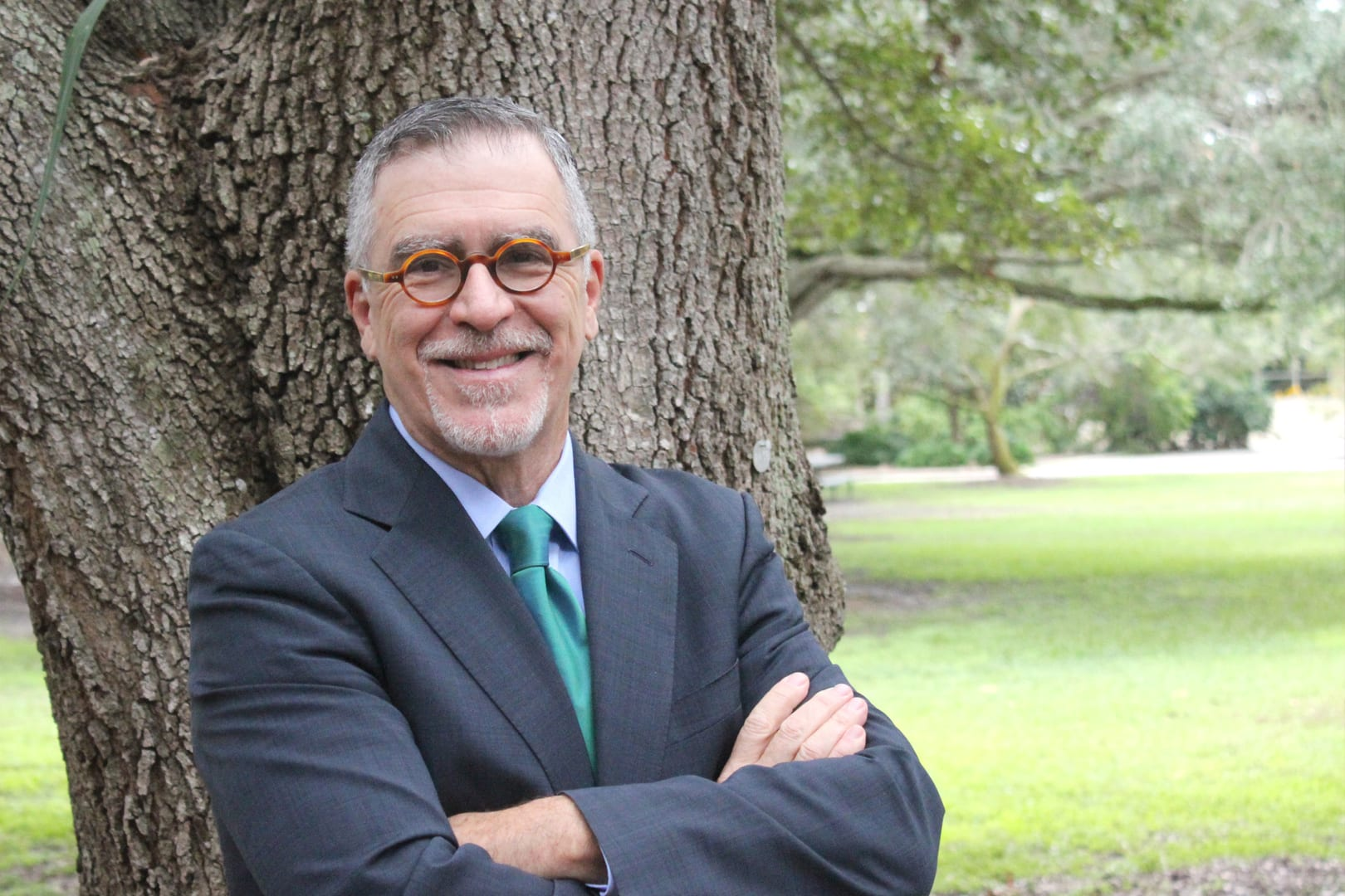 Dr. Damian J. Fernandez in the academic quad at Eckerd College
