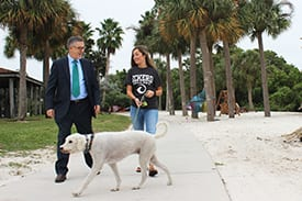 Walking with student and dog