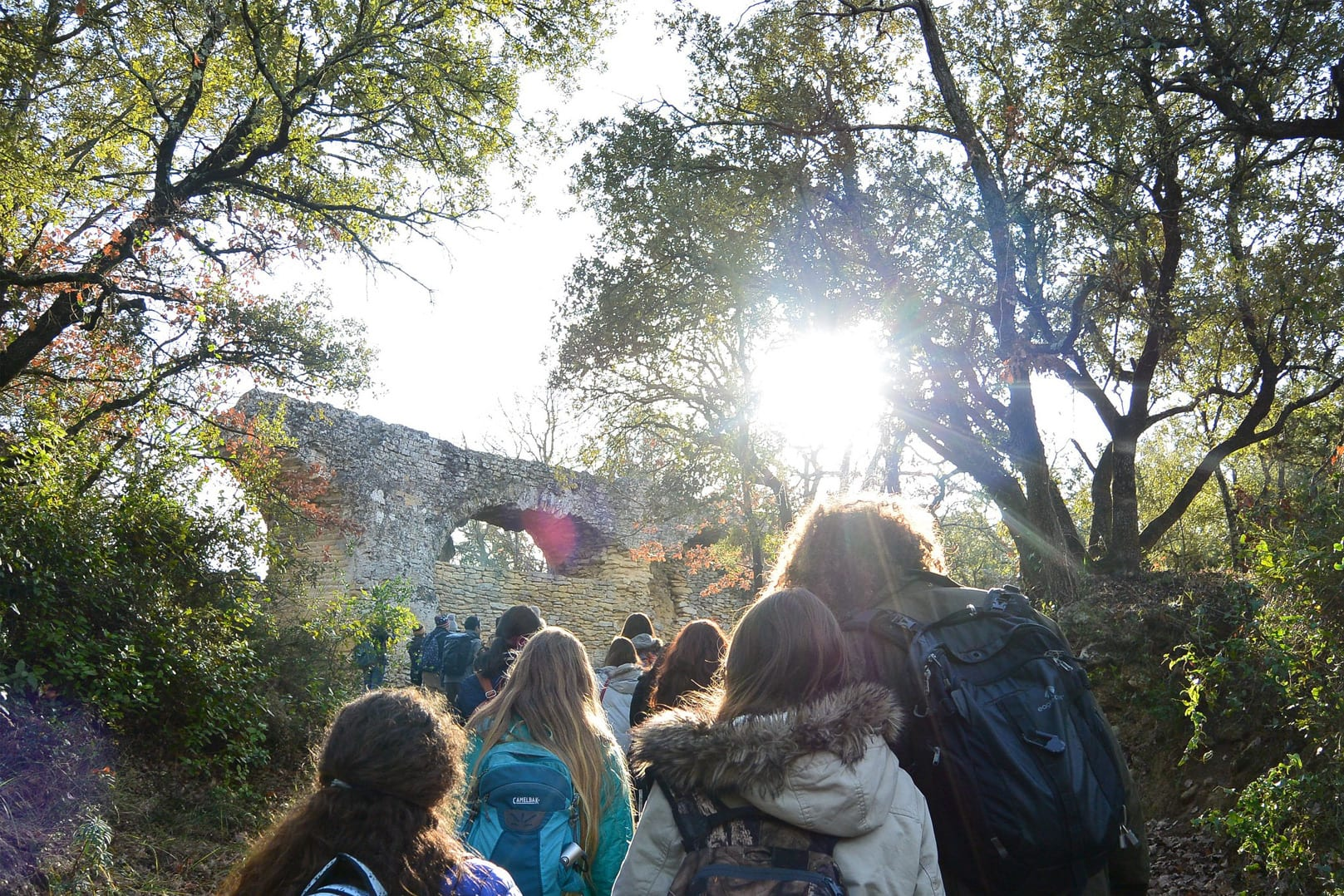 Students climb hill in Montpellier