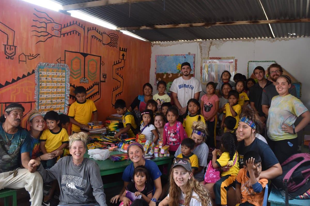 Meghan Cadden with locals in Peru