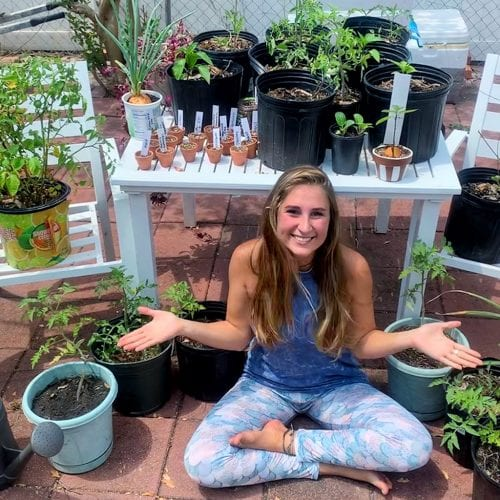 Student with plants about her