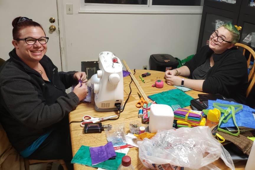 Morgan Colton and mom crafting masks from home