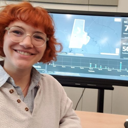 Eckerd student working in emergency operations center