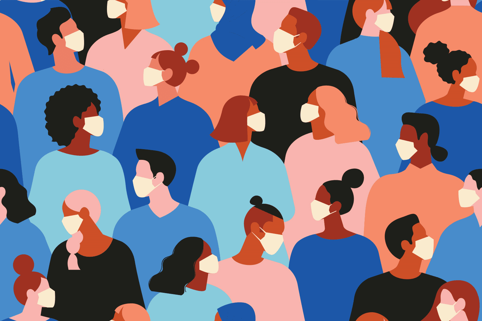 Stylized drawing of crowd of people wearing masks