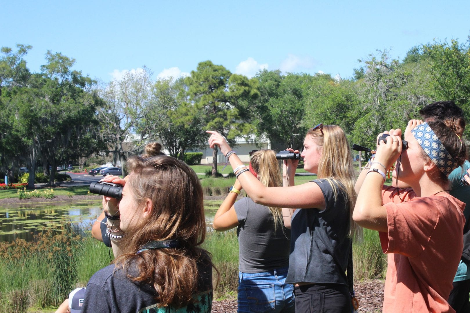Students with binoculars watch an osprey in an Eckerd College environmental studies class