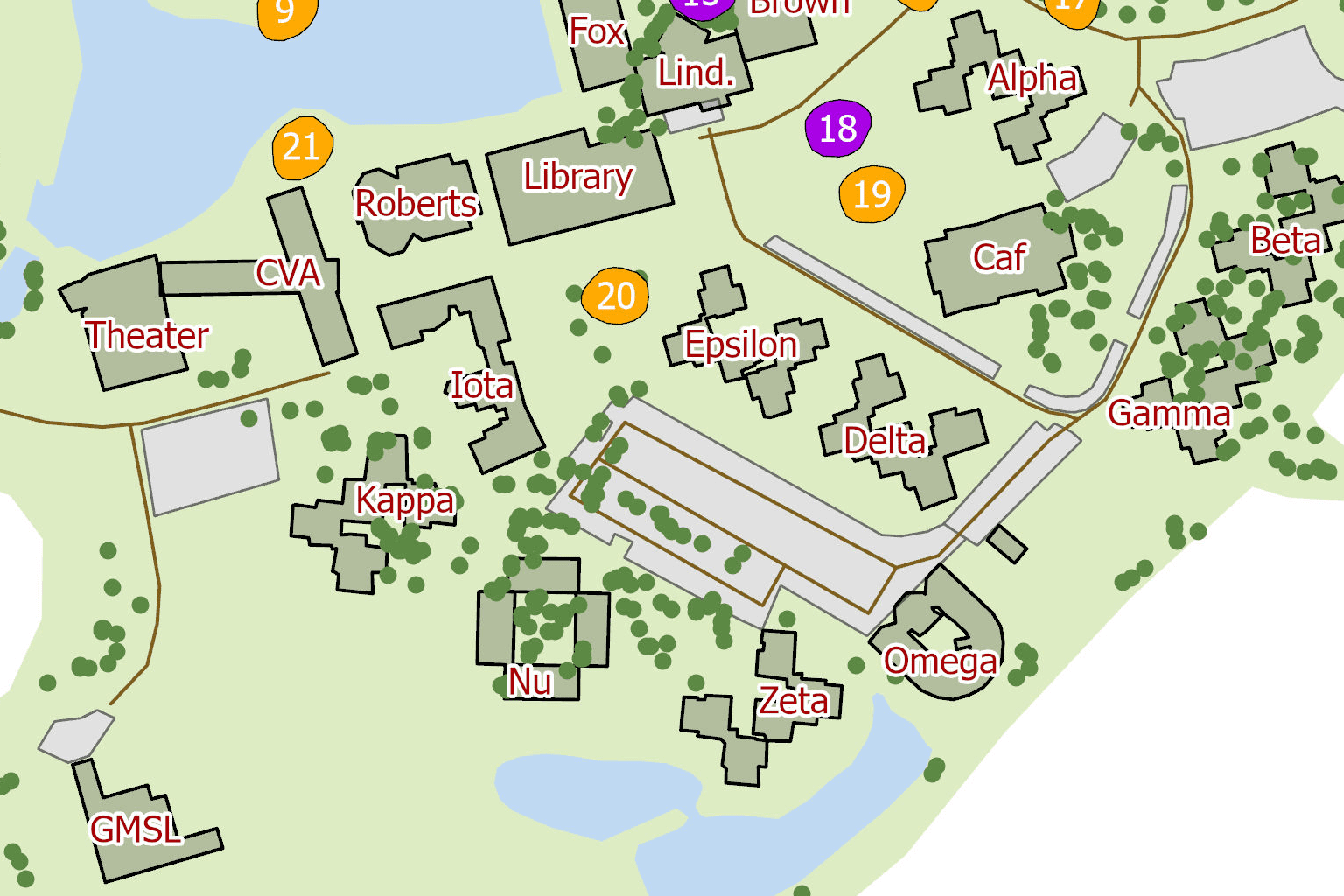 Eckerd College outdoor classrooms map close-up