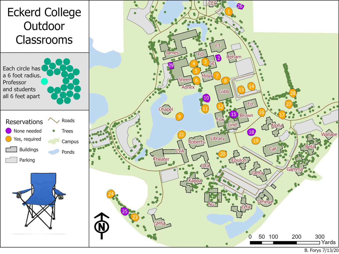 Eckerd College outdoor classrooms map