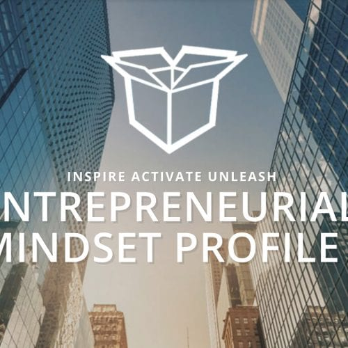 Entrepreneurial Mindset Profile floats above city buildings