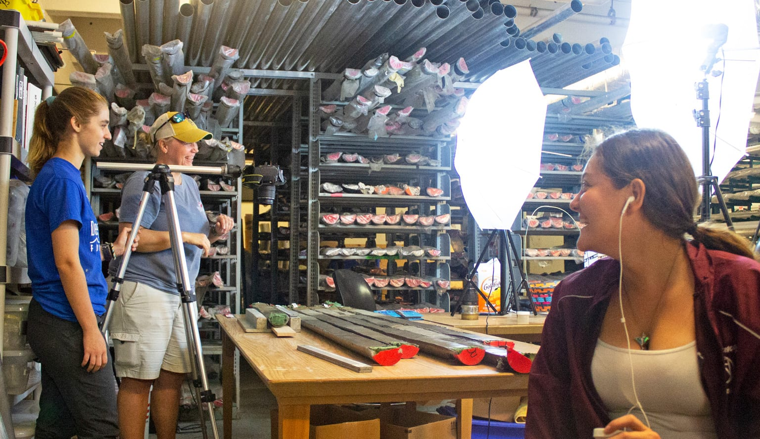 Researcher and students take hi-res photos of core samples