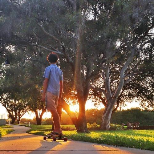 Joe Salcedo '23 skateboards across campus