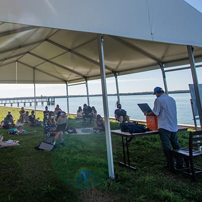 Eckerd College Marine Science outdoor lecture along seawall