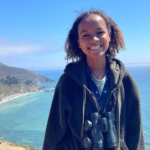 Eckerd College student Fana Scott birding in California