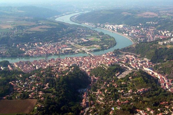 Aerial view of Vienne, France