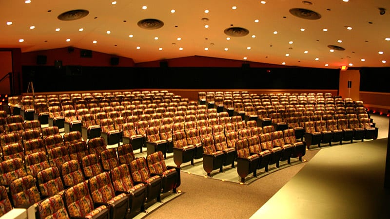Auditorium with cushioned seats