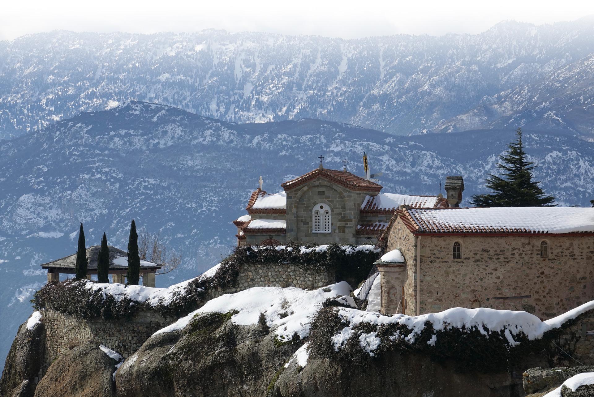 Monastery on top of mountain in Meteora