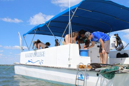 Students on research boat