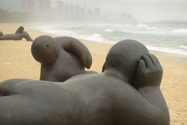 Large-scale sculptures on beach in Cina
