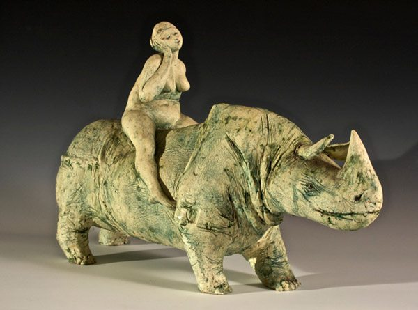 Robert Hodgell (faculty emeritus, deceased) | Lady on a Rhino
