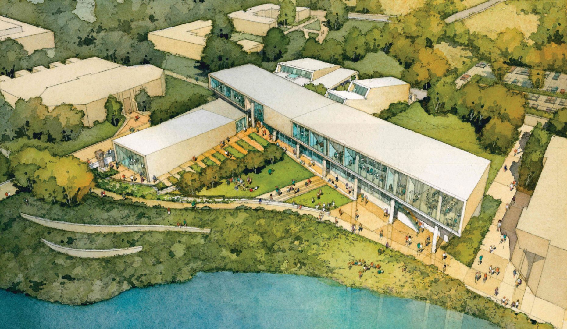 Aerial view rendering of Center of Visual Arts