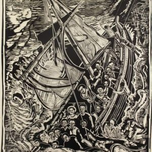 Print showing people on boat surrounded by sharks