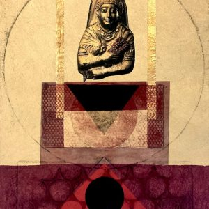 Suzanne Benton, Grain Goddess, monoprint with chine collé