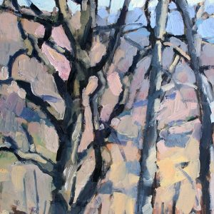 Ben Hamburger '10, Winter Trees plein air painting, 2019